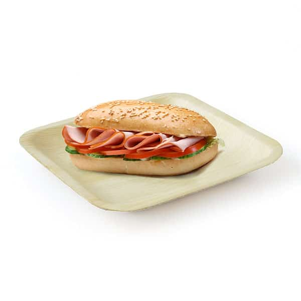 Product Image - Square Eco Friendly Compostable Disposable Plate Areca Palm Leaf 6 inch with sandwich